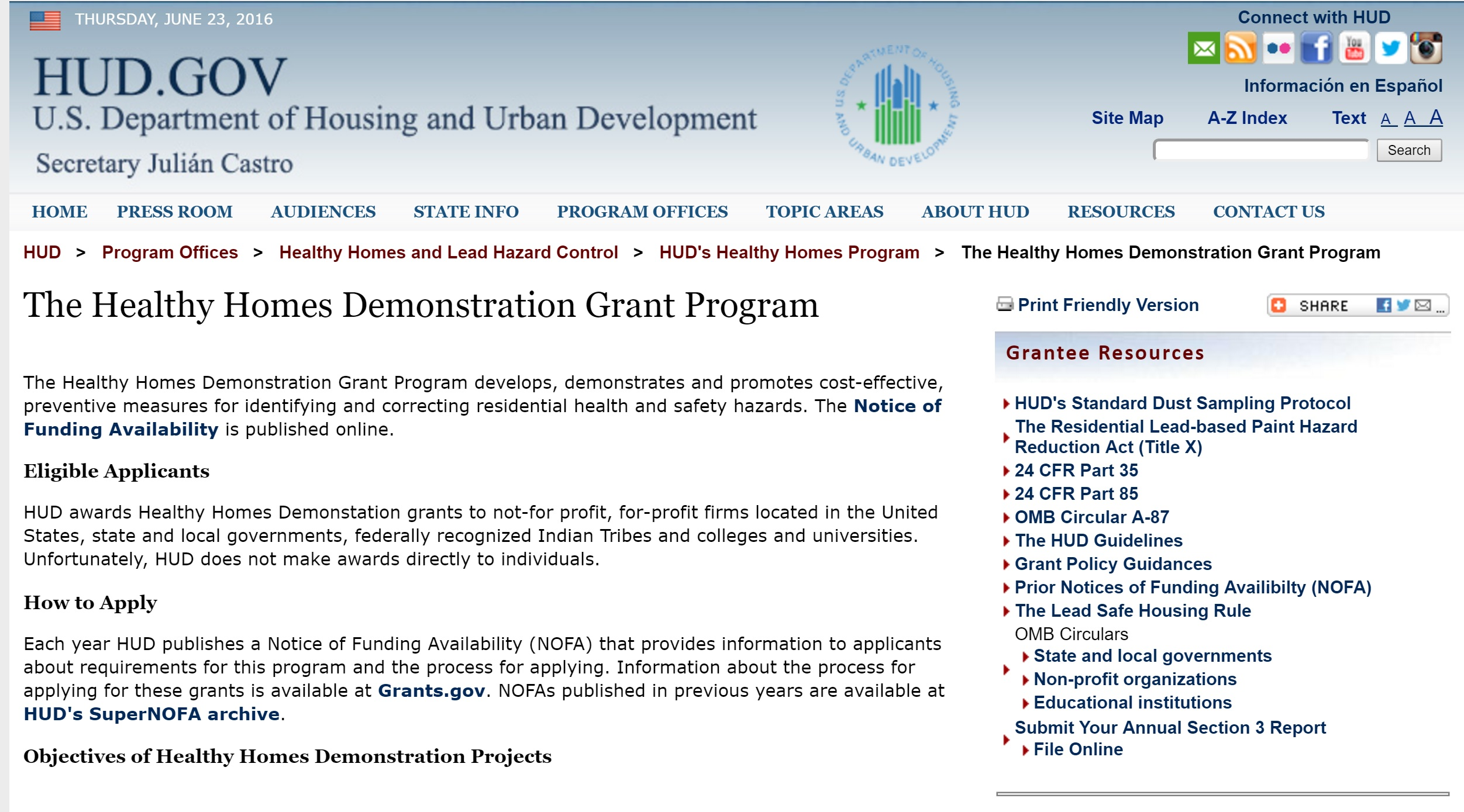 Healthy Homes Demonstration Grant Preview