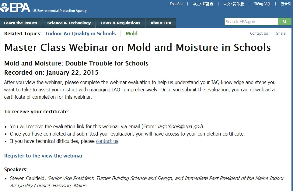 Webinar: Mold and Indoor Air in Schools Preview