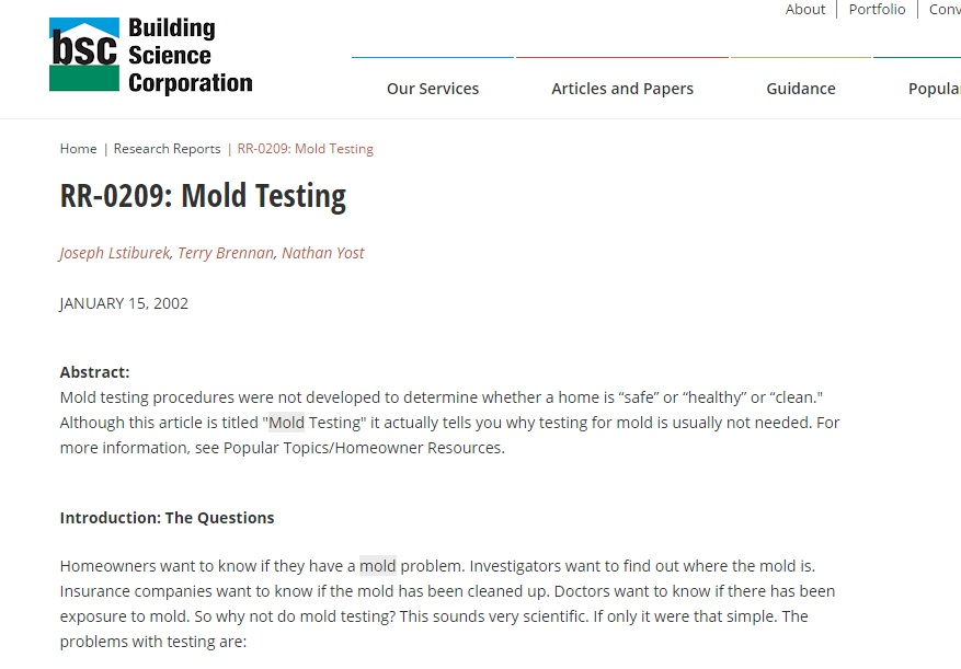 Mold Testing Research Report Preview