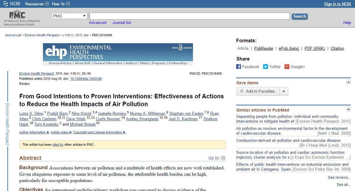 From Good Intentions to Proven Interventions: Effectiveness of Actions to Reduce the Health Impacts of Air Pollution Preview