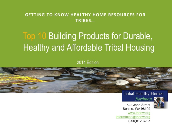 Top 10 Building Products for Durable, Healthy and Affordable Tribal Housing Preview