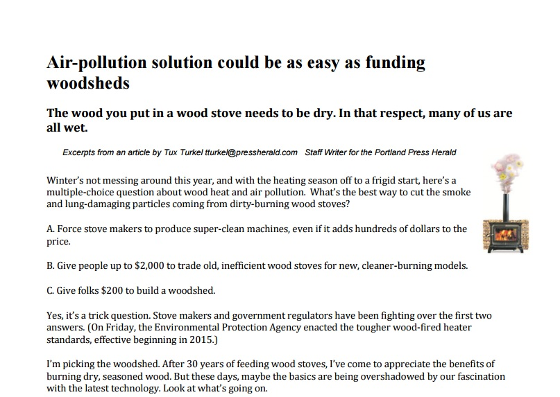 """""""Air-pollution solution could be as easy as funding woodsheds"""" Preview"""