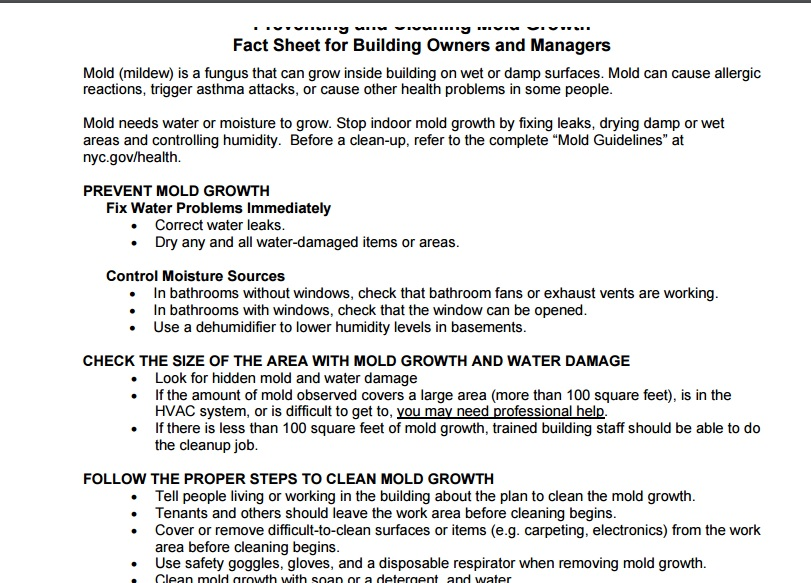 Preventing and Cleaning Mold Growth: Fact Sheet for Building Managers Preview