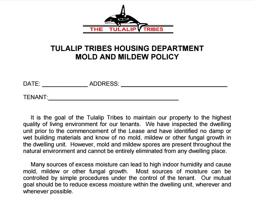 Tulalip Tribles Housing Department Mold and Mildew Policy Preview