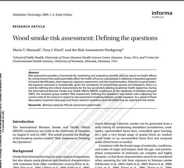 Woodsmoke risk assessment: Defining the questions Preview