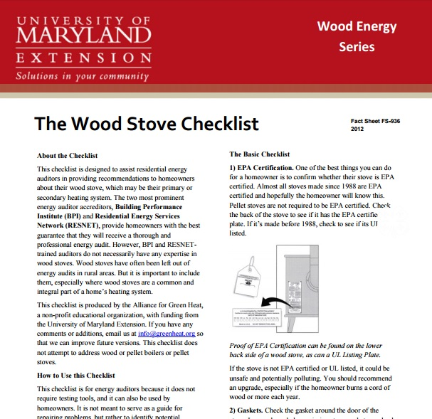 WoodStove Checklist Preview