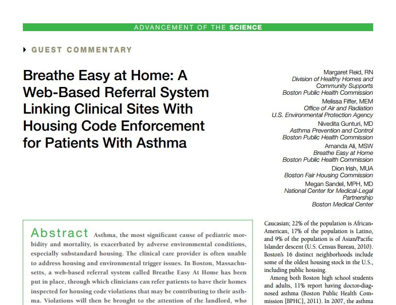 Breathe Easy at Home: A Web-Based Referral System Linking Clinical Sites With Housing Code Enforcement for Patients With Asthma Preview