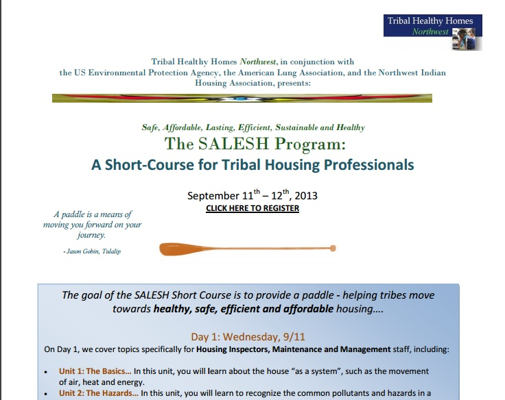 SALESH Short Course for Tribal Housing Professionals, September 11-12, 2013 at Clearwater Casino Resort, Suquamish, WA Preview
