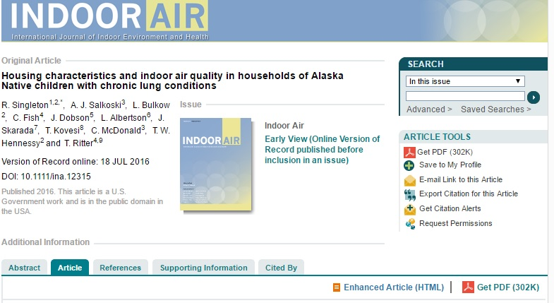 Housing characteristics and indoor air quality in households of Alaska Native children with chronic lung conditions Preview