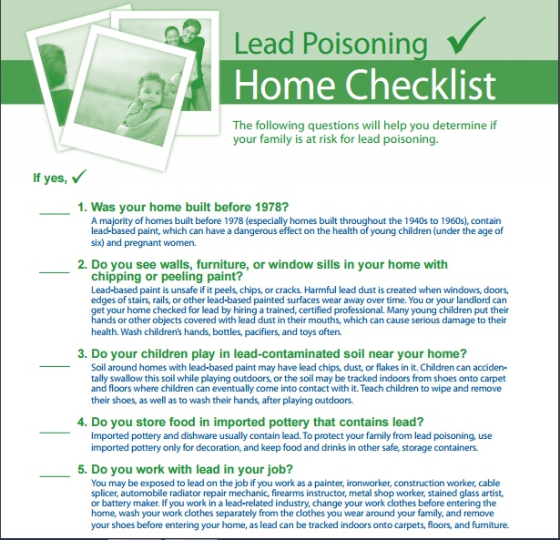 Lead Poisoning Home Check List Preview