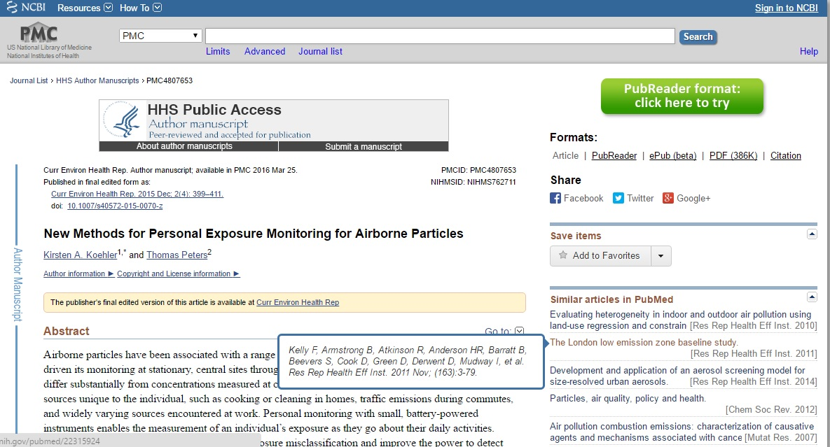 New Methods for Personal Exposure Monitoring for Airborne Particles Preview