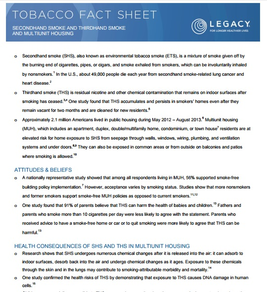 Secondhand and Thirdhand Smoke Fact sheet Preview